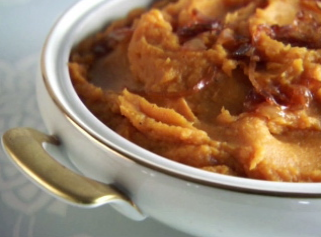 Maple sweet potatoes with caramelized onions