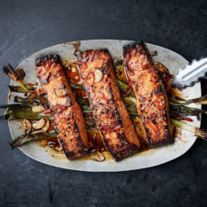 Salmon with Scallions and Sesame