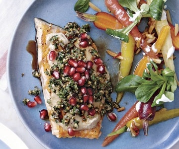 Red Snapper with Tahini Sauce and Nut Gremolata